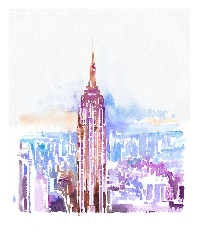 """Archivalische Druck aus Original Painting, Empire State Building Print, New York, New York-Illustration-Print Serie 11 """"x 17"""" von silverridgestudio auf Etsy https://www.etsy.com/de/listing/175066907/archivalische-druck-aus-original"""