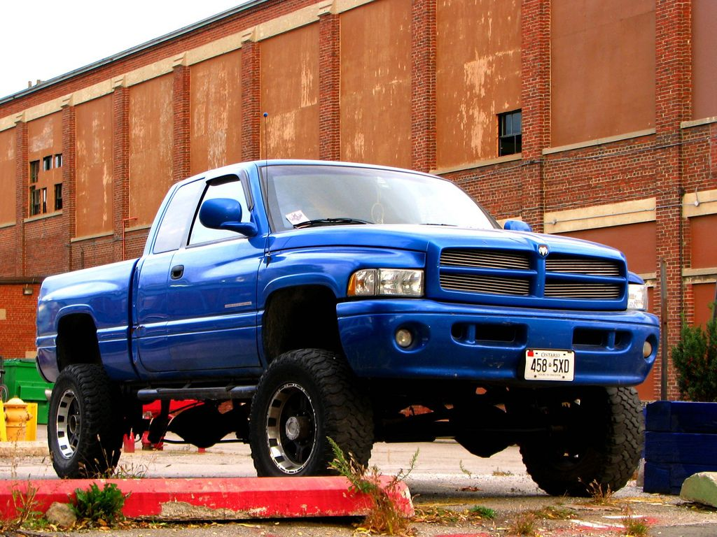 Blue lifted dodge ram truck