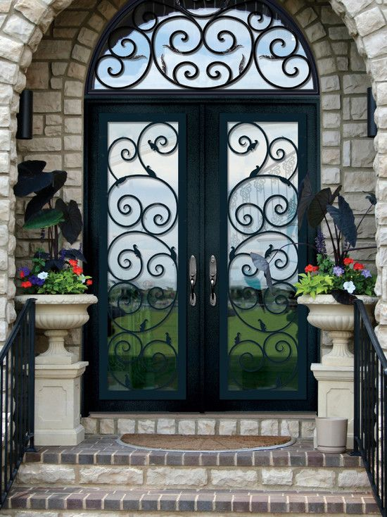Excellent Fiberglass Front Doors With Glass And Hardwood Mediterranean Entry With Steel Doors Make A & Excellent Fiberglass Front Doors With Glass And Hardwood ...