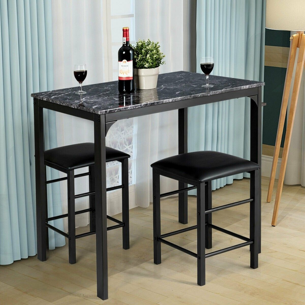 3 Pcs Counter Height Dining Set Faux Marble Table Dining Table