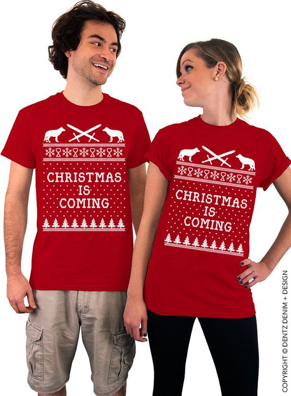 """Use coupon code """"pinterest"""" Christmas is Coming T-Shirt. Red Christmas T-Shirt. Unisex Christmas Tee. Nerdy Christmas Shirt. Ugly Xmas Shirt. by DentzDenim"""