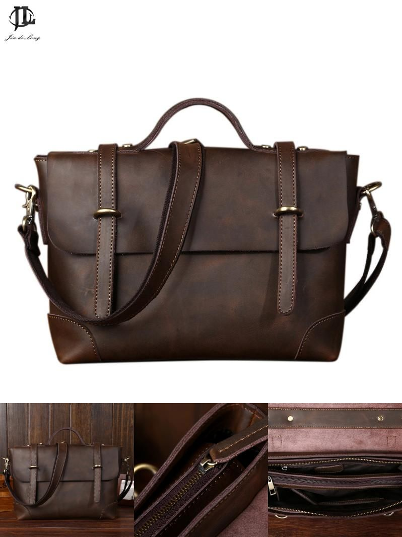 87774e7f0a0 [Visit to Buy] New Retro Crazy Horse Genuine Leather Men's Classic Handbag  Messenger Shoulder Bag Travel Business Laptop Bag Briefcase #Advertisement