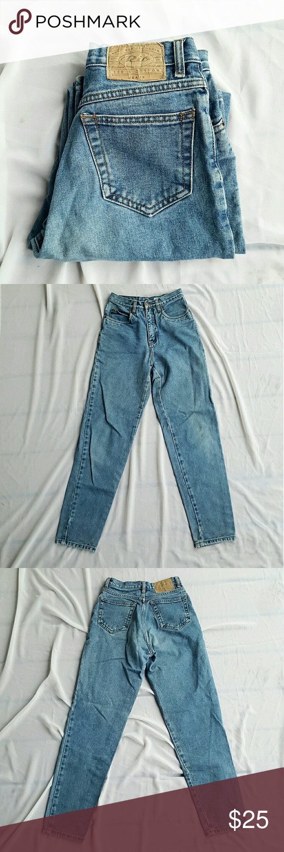 Rio Mom High Waisted Jeans Blue Denim Jeans High Waisted Mom Jeans Style Classic