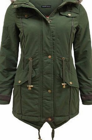 Brave Soul Allure Ladies Faux Fur Parka Coat Khaki Green