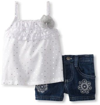 Young Hearts Baby-Girls Infant 2 Piece White Infant Girls Woven Pullover And Short Set