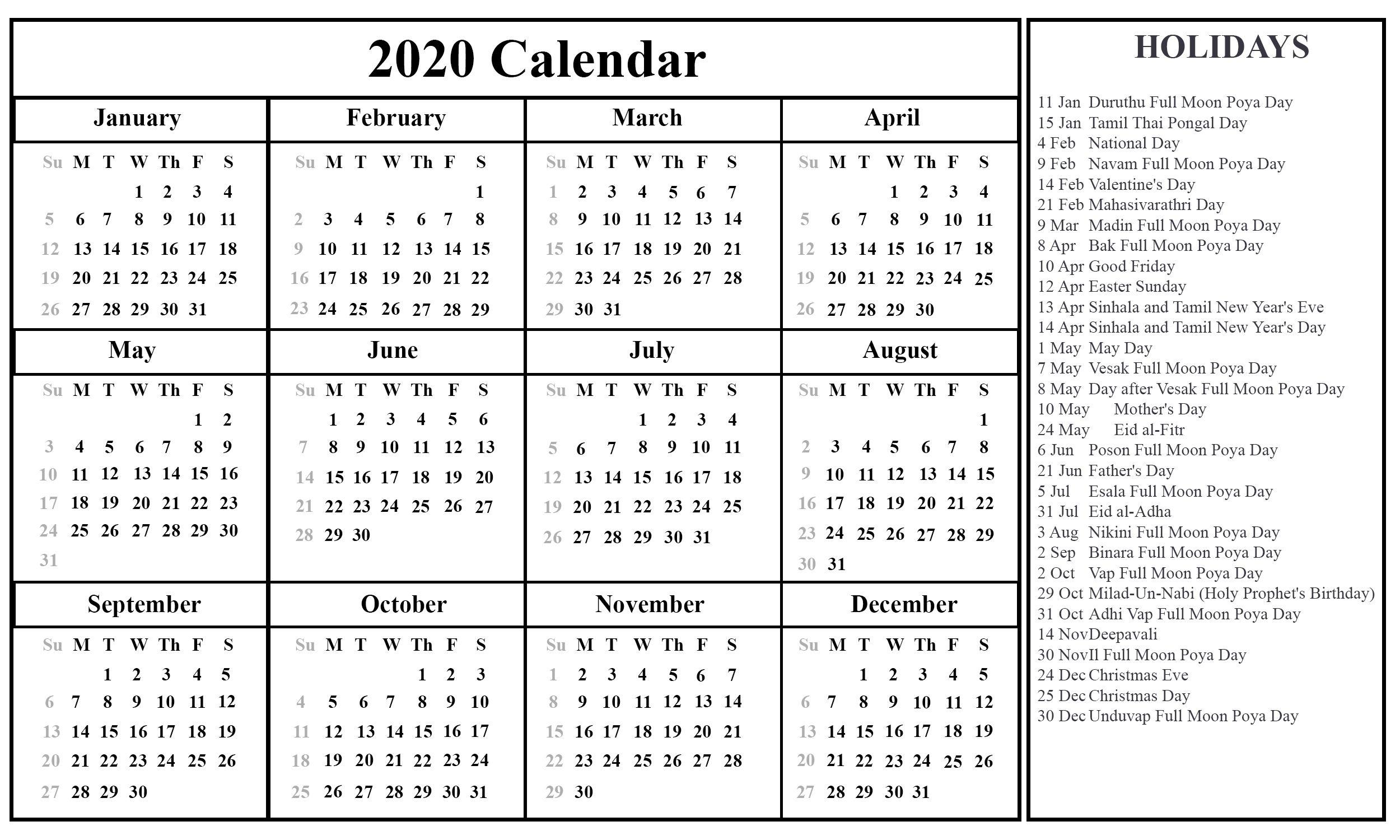 Calendar 2021 Sri Lanka Holidays In 2020 Printable Calendar Template Calendar Template Calendar Printables
