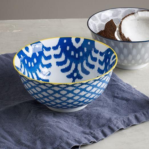 Ikat Pad Printed Serving Bowls West Elm