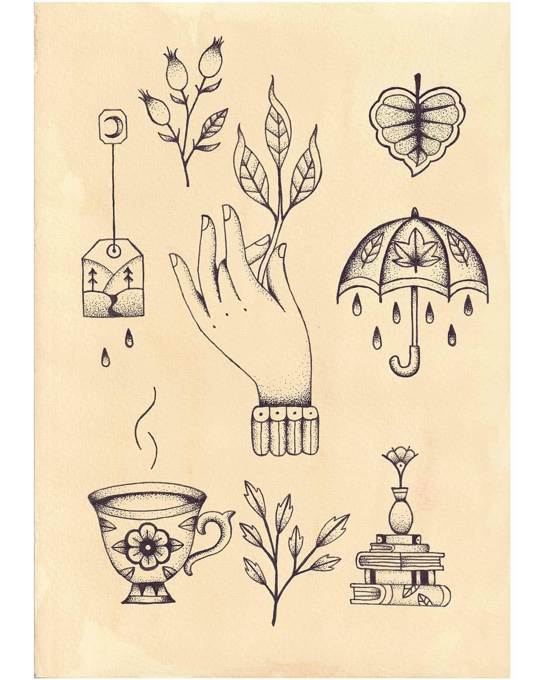 Autumn Traditional Tattoo Flash Hand Leaf Teacup Books Umbrella