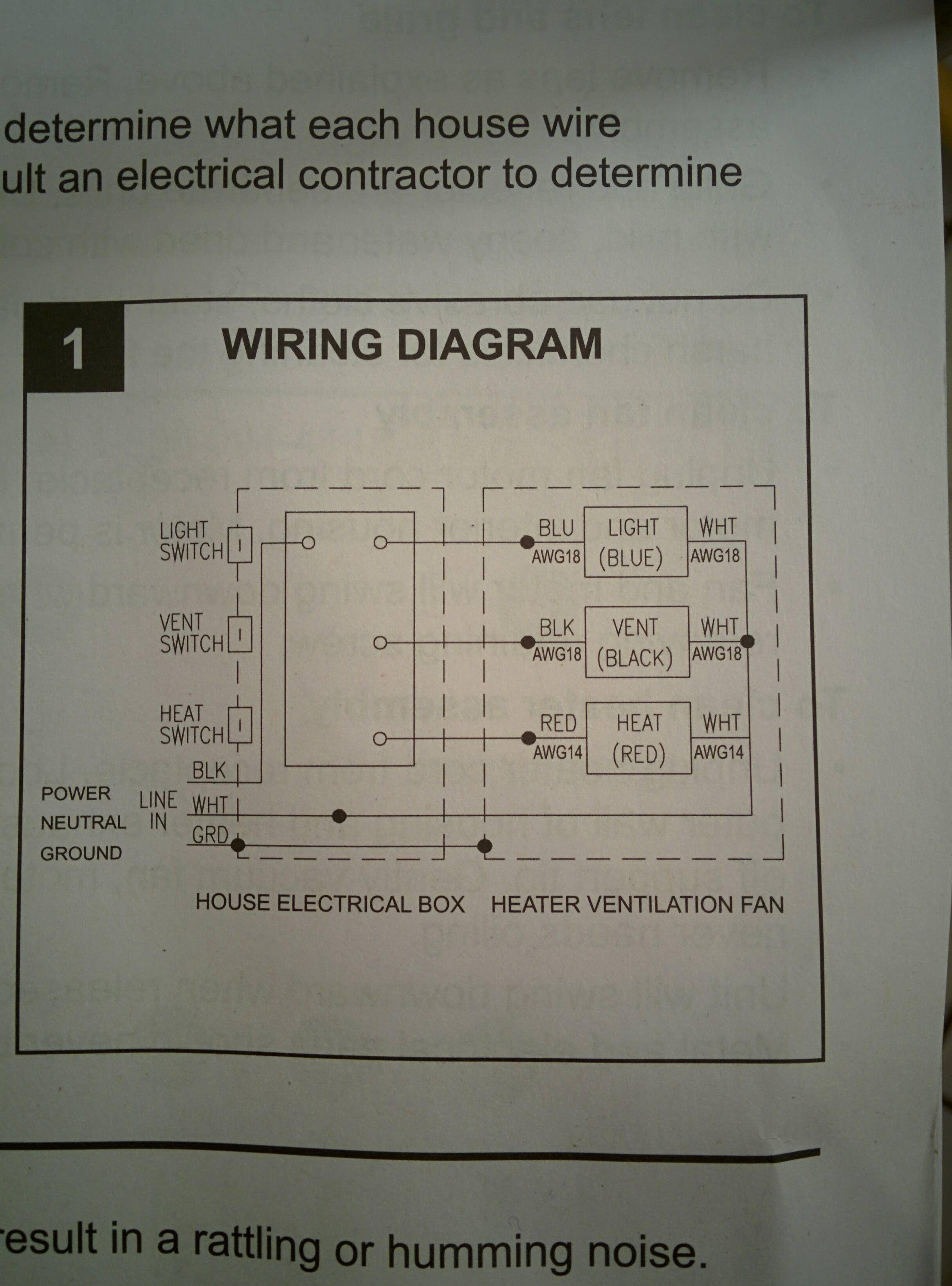 Wiring Bathroom Fan Light Heater Combo