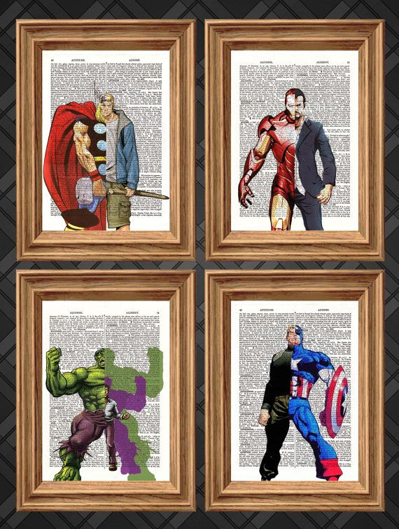 Marvel Avengers Thor Iron Man Hulk Captain America Super Heroes 4 Dictionary Art Print Book Art Page Wall Deco Marvel Wall Art Marvel Room Superhero Room
