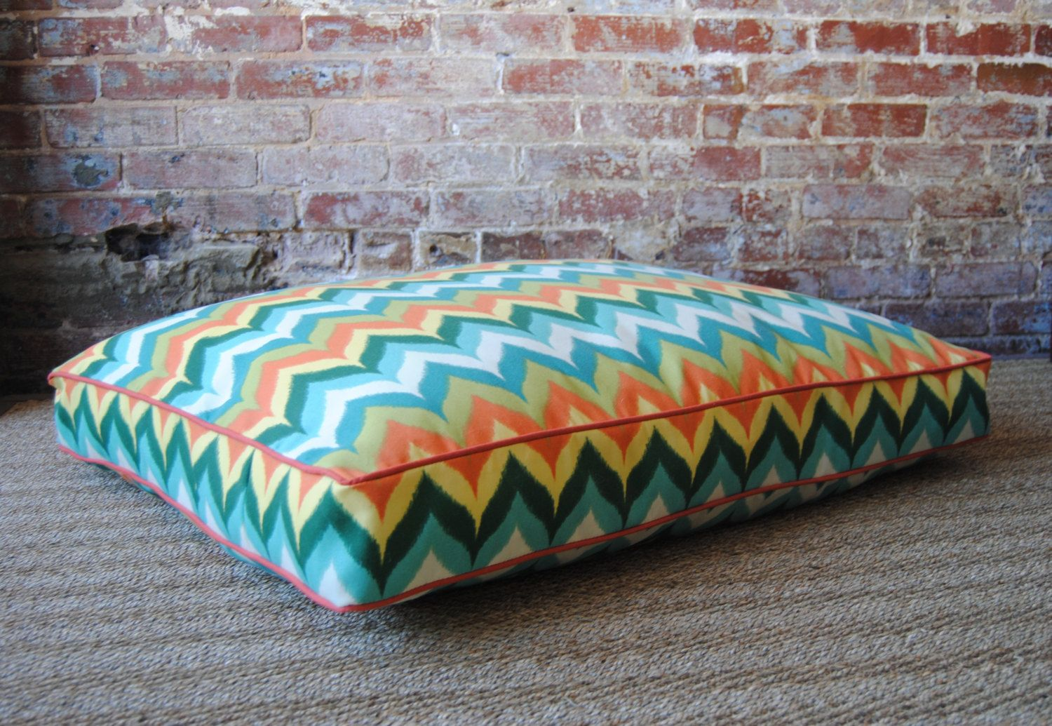LAST ONE - Medium - Multi Chevron Dog Bed - 30 x 36. $135.00, via Etsy.