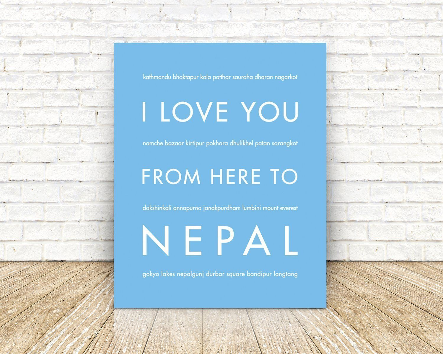 Nepal travel art print nepal love wall art print poster shown in