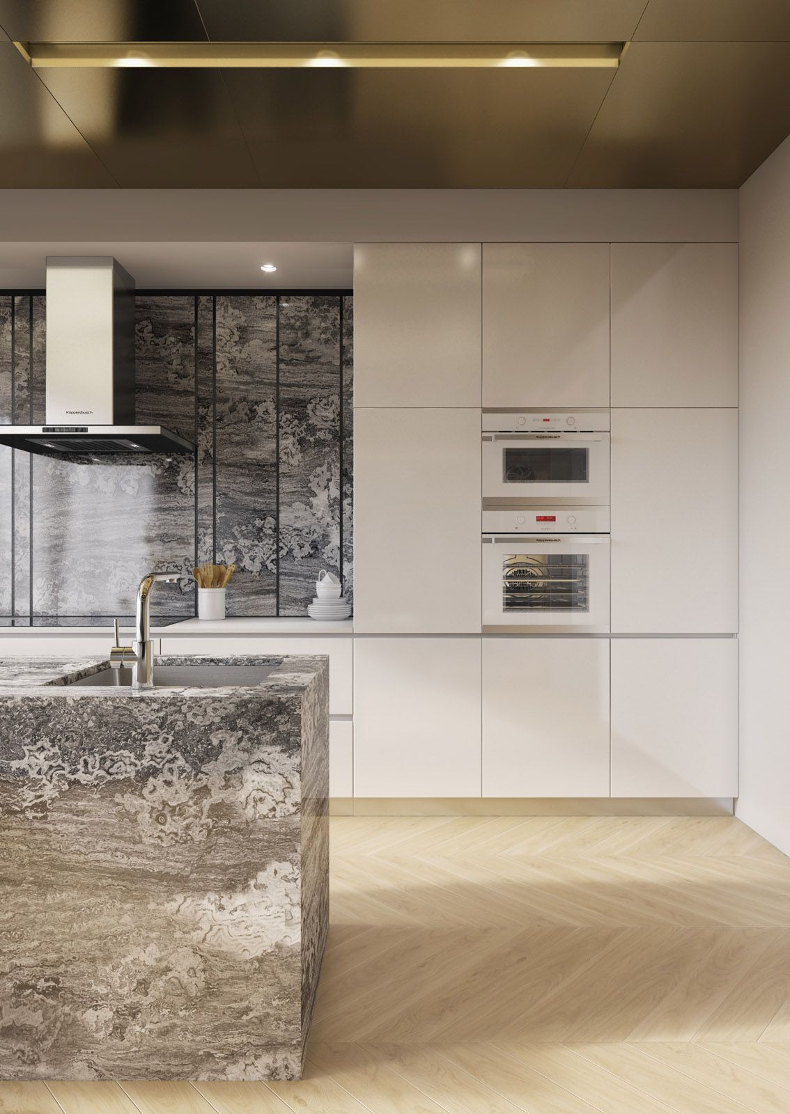 counter top and backsplash metallic ceiling sleek siematic cabinets play off natural and metallic textures in this luxurious moscow apartment