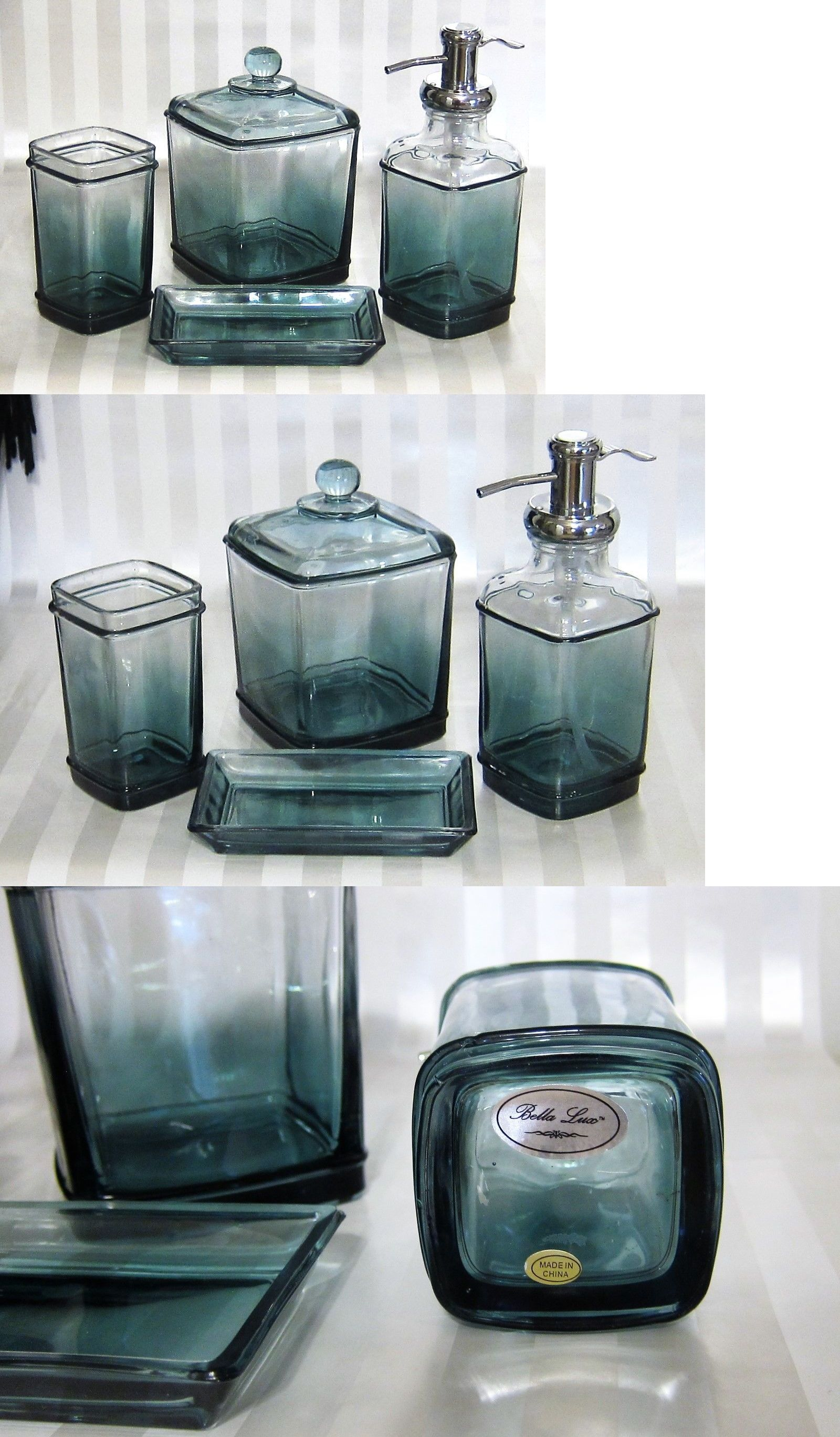 Bath Accessory Sets 176990 Bella Lux Green Blue Ombre Thick Glass