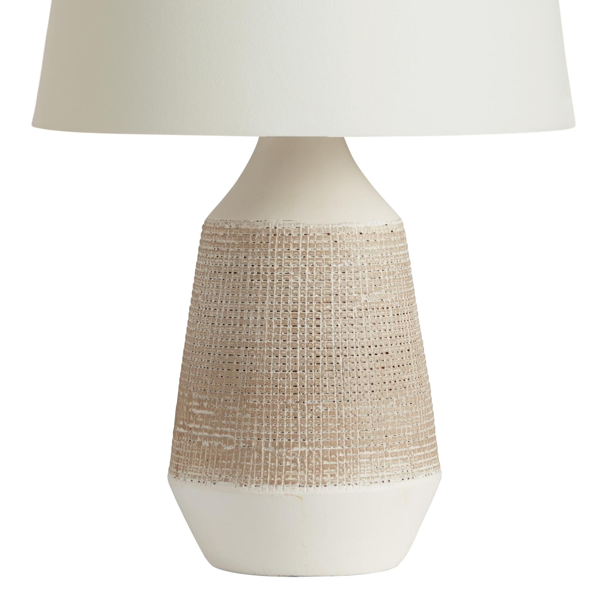 White And Gray Textured Ceramic Table Lamp Base World Market Table Lamp Base Ceramic Table Lamps Lamp Bases White table lamp base