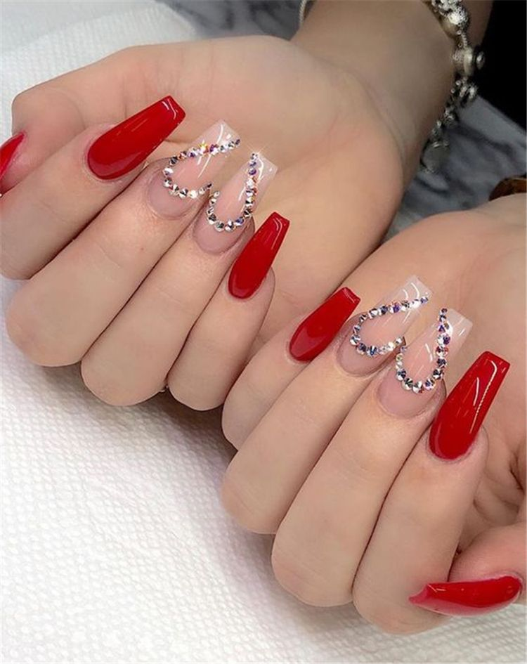 45 Hottest Red Long Acrylic Coffin Nails Designs You Need To Know Page 24 Of 45 Cute Hostess For Modern Women In 2020 Coffin Nails Long Red Acrylic Nails Rhinestone Nails
