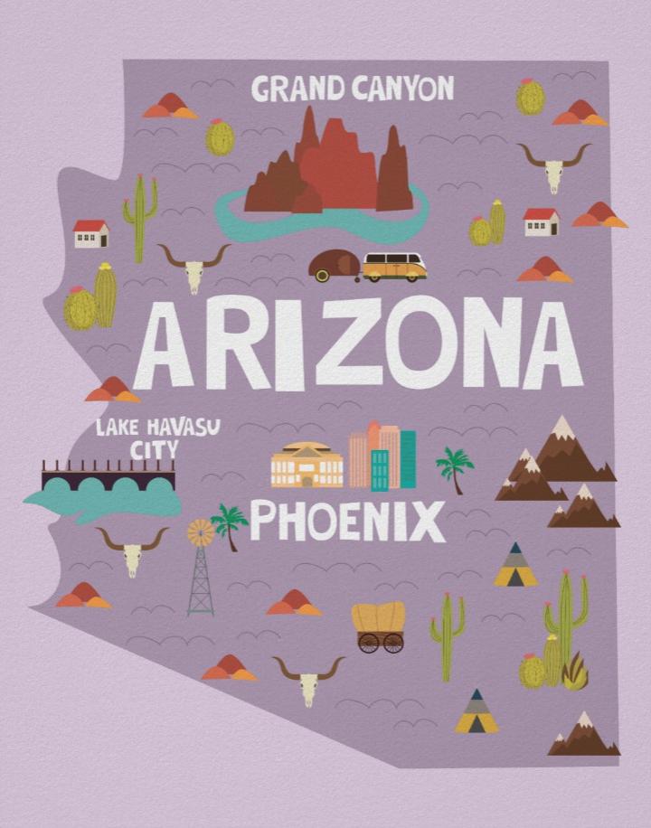 Arizona Illustrated Map Poster Wallart Illustration Arizona State Travel Illustrated Map Map Poster Arizona