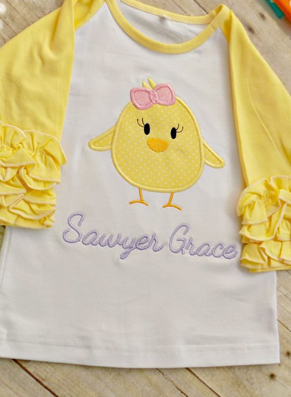 Personalized Yellow Easter Chicks Shirt,Infants Easter Appliqued Girls Easter Shirt,Toddlers Easter Shirt 3 Easter Chicks Embroidered