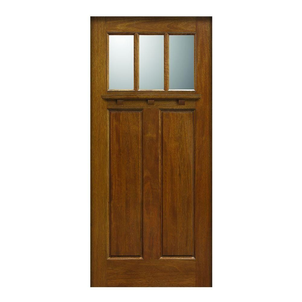 Main Door Craftsman Collection 3 Lite Prefinished Walnut