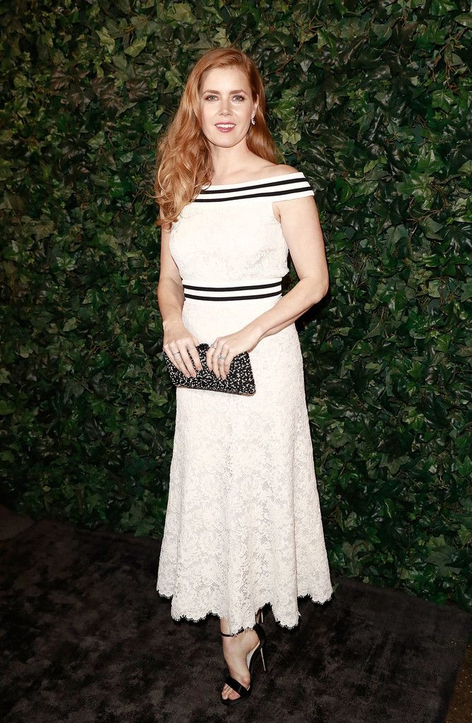 Amy Adams Off-the-Shoulder Dress - Amy Adams was demure in an off-the-shoulder lace dress by Chanel at the pre-BAFTA party.