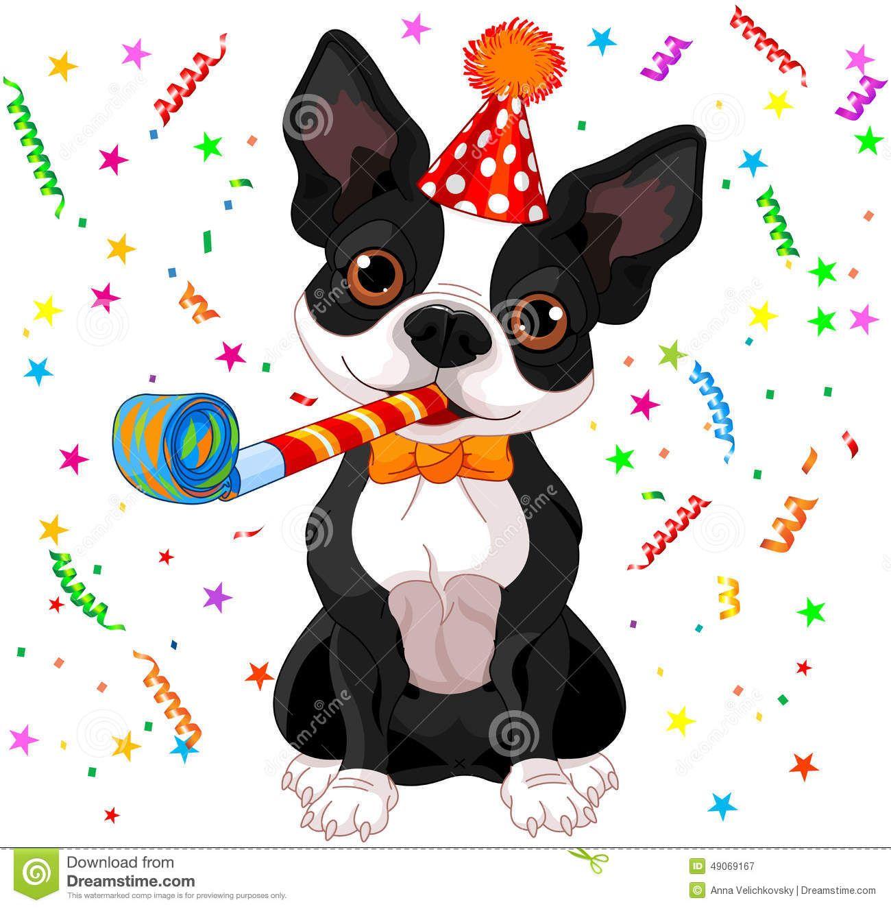 Illustration About Illustration Of Cute Boston Terrier Celebrating Illustration Of Drawing Im Happy Birthday Funny Dog Boston Terrier Dog Boston Terrier Love