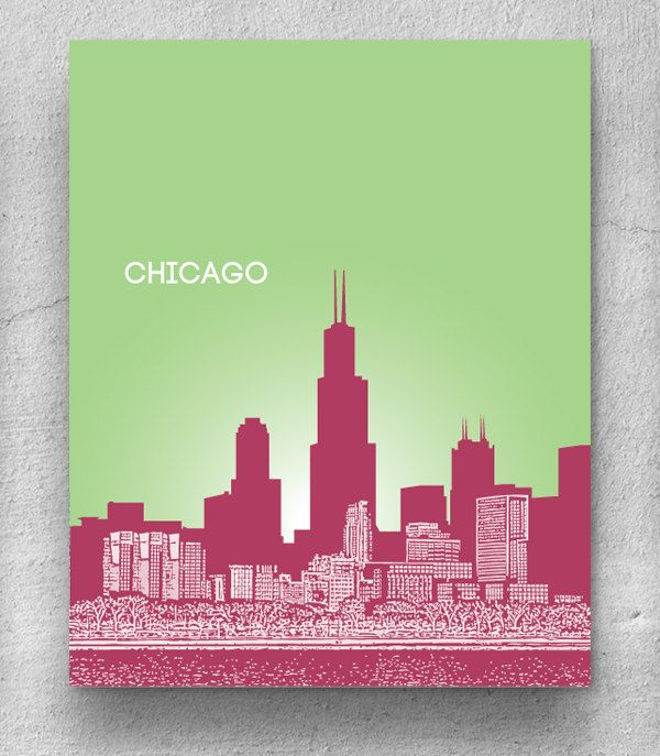 Chicago illinois skyline home office art poster print 8x10 print any city or location version 1