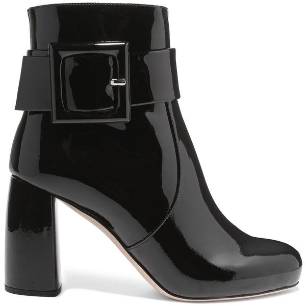 Miu Miu Patent-leather ankle boots (615 CAD) ❤ liked on Polyvore featuring shoes, boots, ankle booties, miu miu, ankle boots, black bootie, black bootie boots, chunky-heel ankle boots, high heel boots and black buckle booties