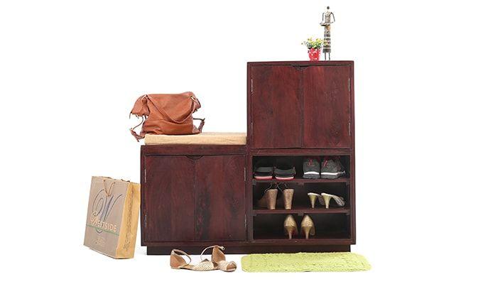 David Shoes Cabinet With Bench Mahogany Finish