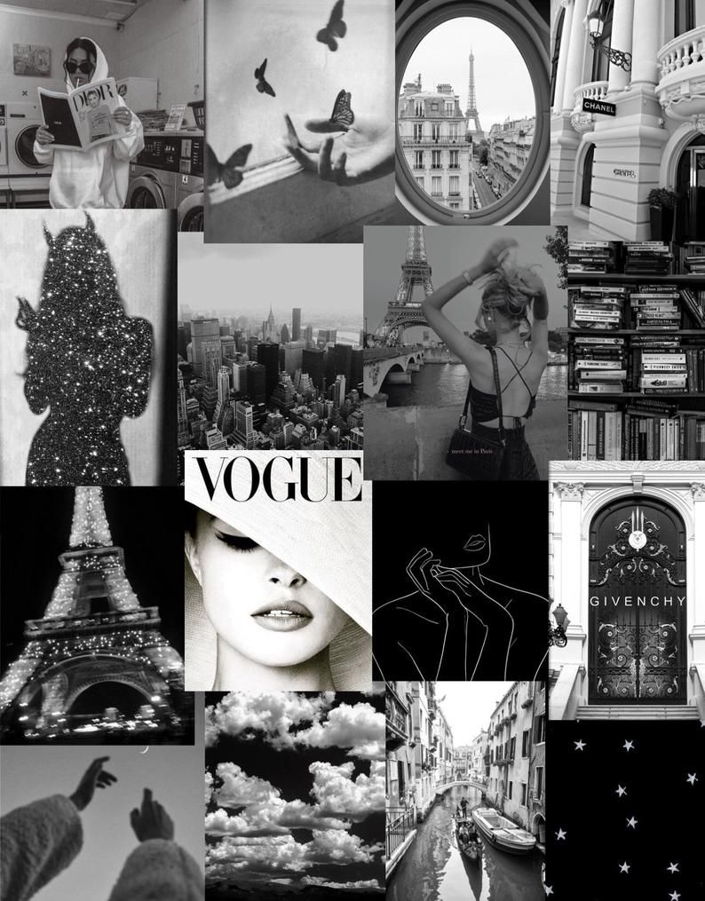 Black and white vintage 32 piece wall collage kit in 2020
