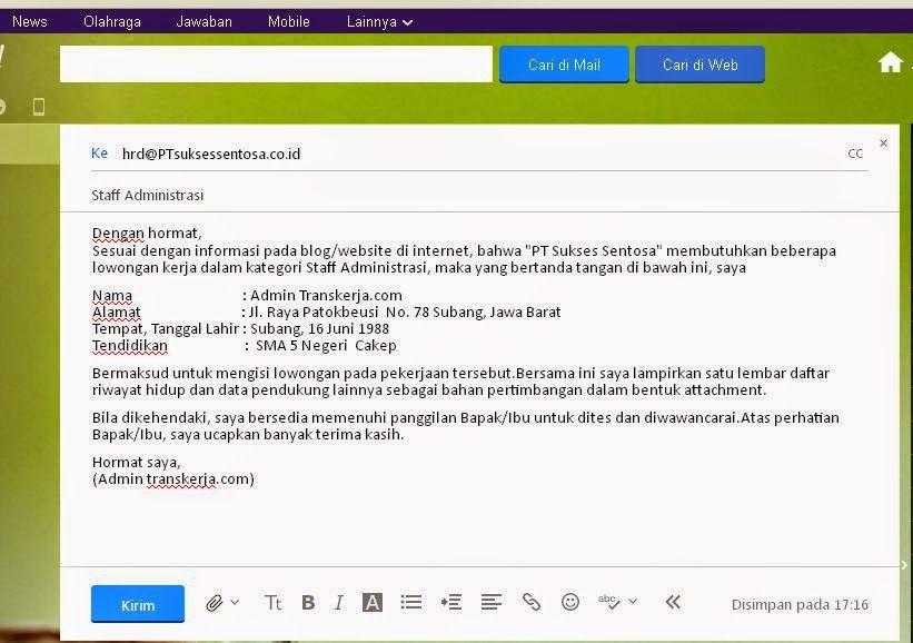 Cara Mengirim Surat Lamaran Kerja Lewat Email Ben Jobs Contoh