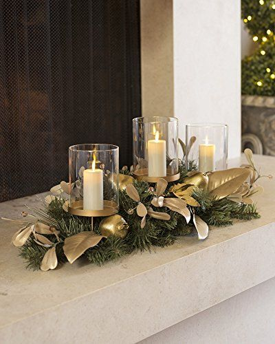 30 Balsam Hill Golden Pear Triple Hurricane This Is An Amazon Affiliate Link Christmas Centerpieces Christmas Candle Decorations Christmas Mantel Decorations