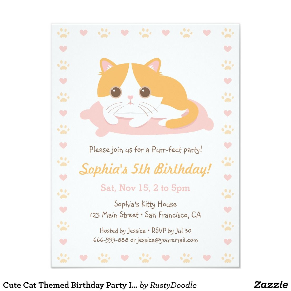 Cute Cat Themed Birthday Party Invitations | { Happy Birthday ...