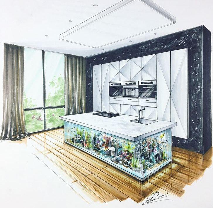High Quality Interior Skizze, Innenausstattung Simulation, Marker Zeichnungen,  Perspektivisches Zeichnen, Skizzen Design, Haus Innenräume, Haus Design,  Perspektive, ...