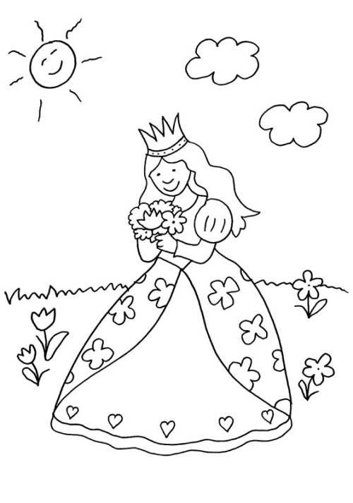 Prinzessin Prinzessin Pfluckt Blumenstrauss Zum Ausmalen Ausmalbilder Prinzessin Malvorlage Prinzessin Ausmalbilder Kinder