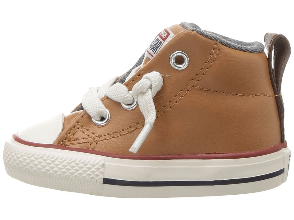 668d475ae2d4 Converse Kids Chuck Taylor All Star Street Leather and Fleece Mid (Infant  Toddler) Boys Shoes Raw Sugar Terra Red Navy