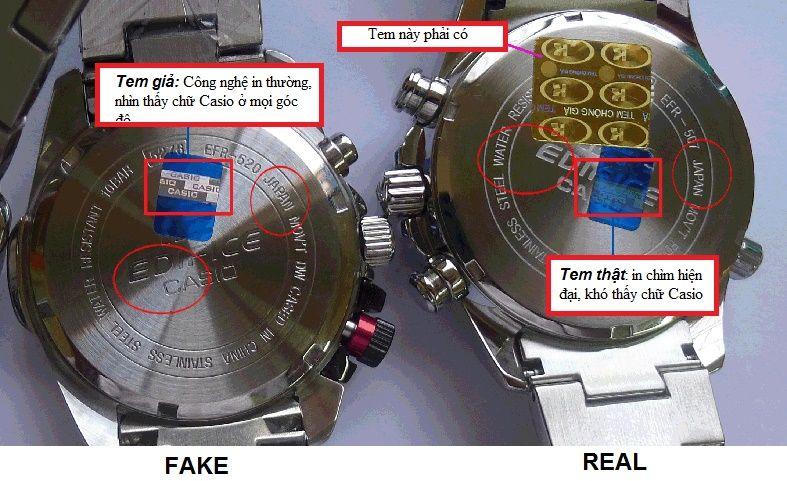 Đồng hồ Casio Edifice phân biệt thật giả qua mặt sau