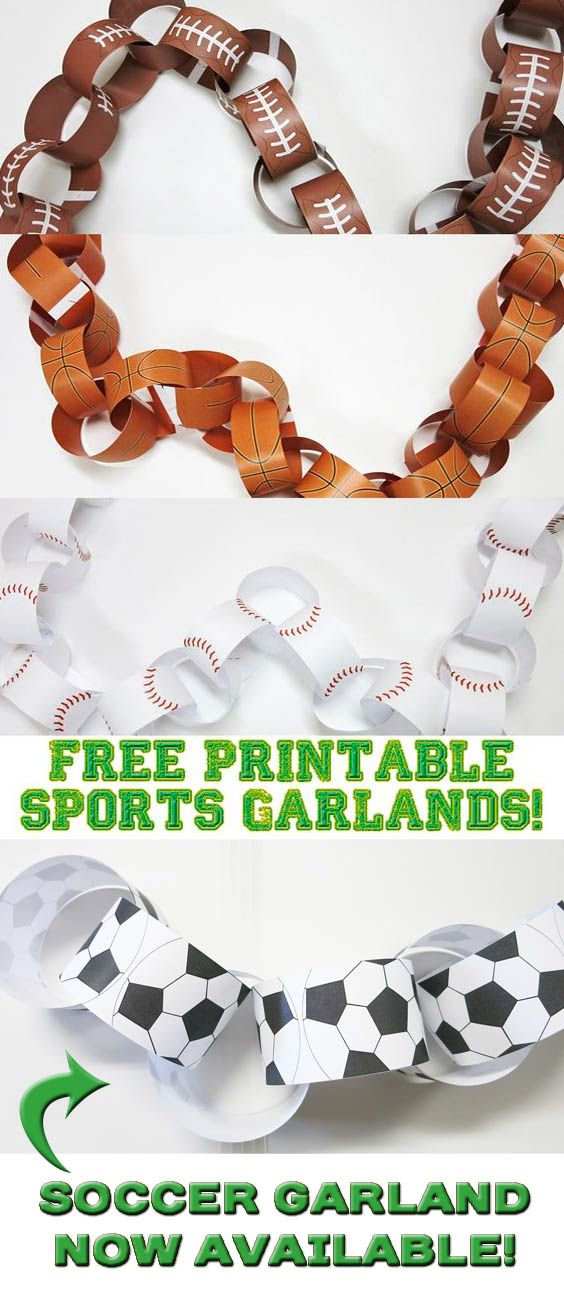 free printable sports themed garlands soccer ball garlands now