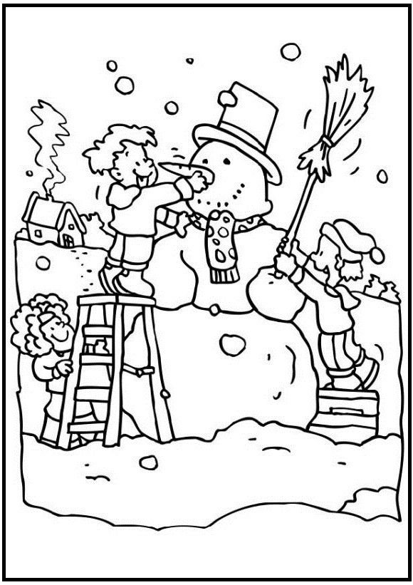 Large Snowman On Winter Day Coloring Pages For Kids Ekp Printable Winter Coloring Pages For Kids