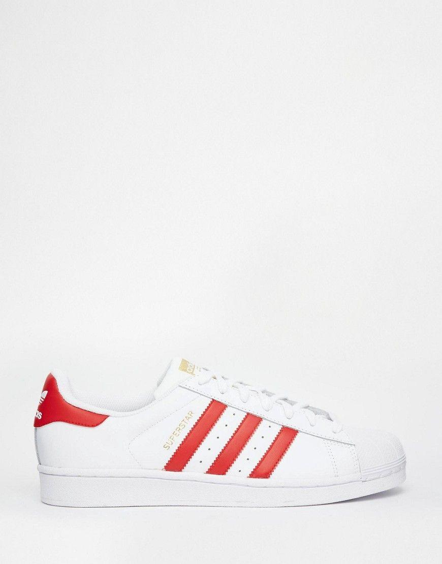 Cómpralo ya. blanco Zapatillas de deporte en blanco ya. y rojo Superstar 3a5809