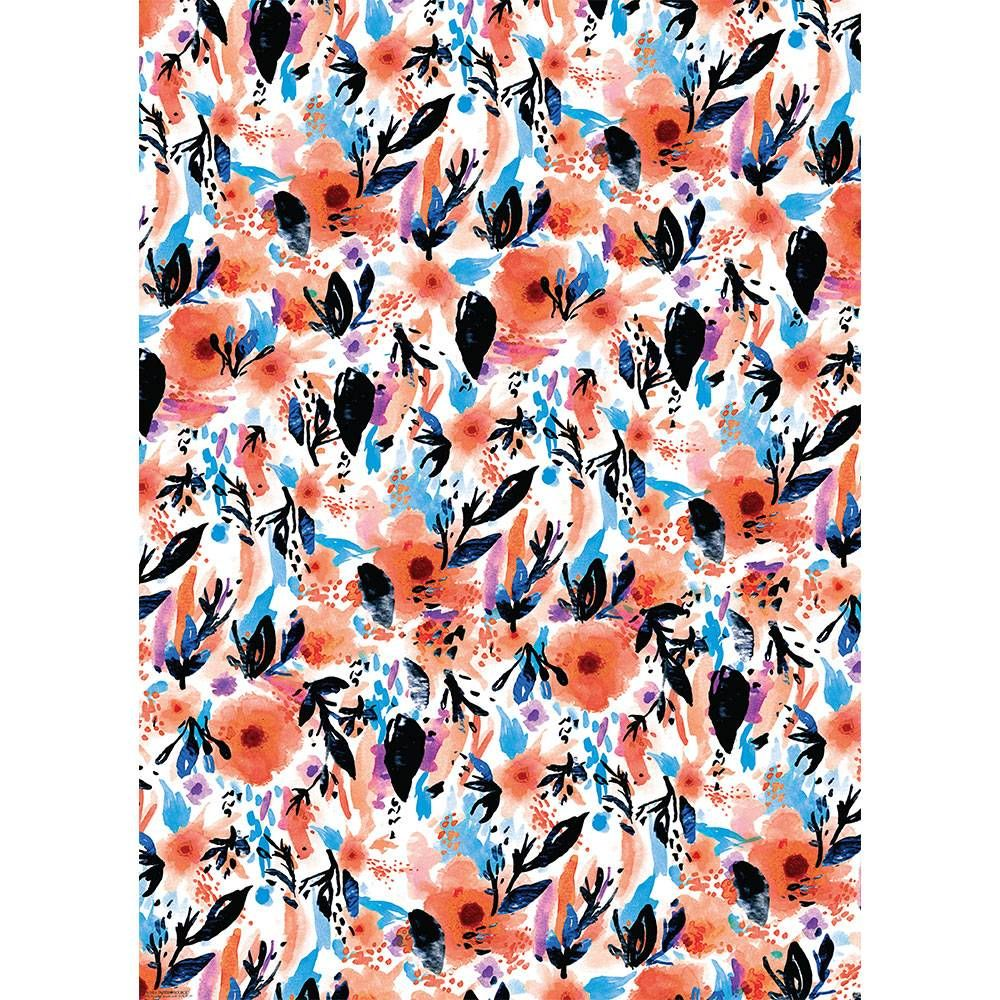 Abstract Watercolor Flowers Roll 2 Sheets Wrap Shop Paper