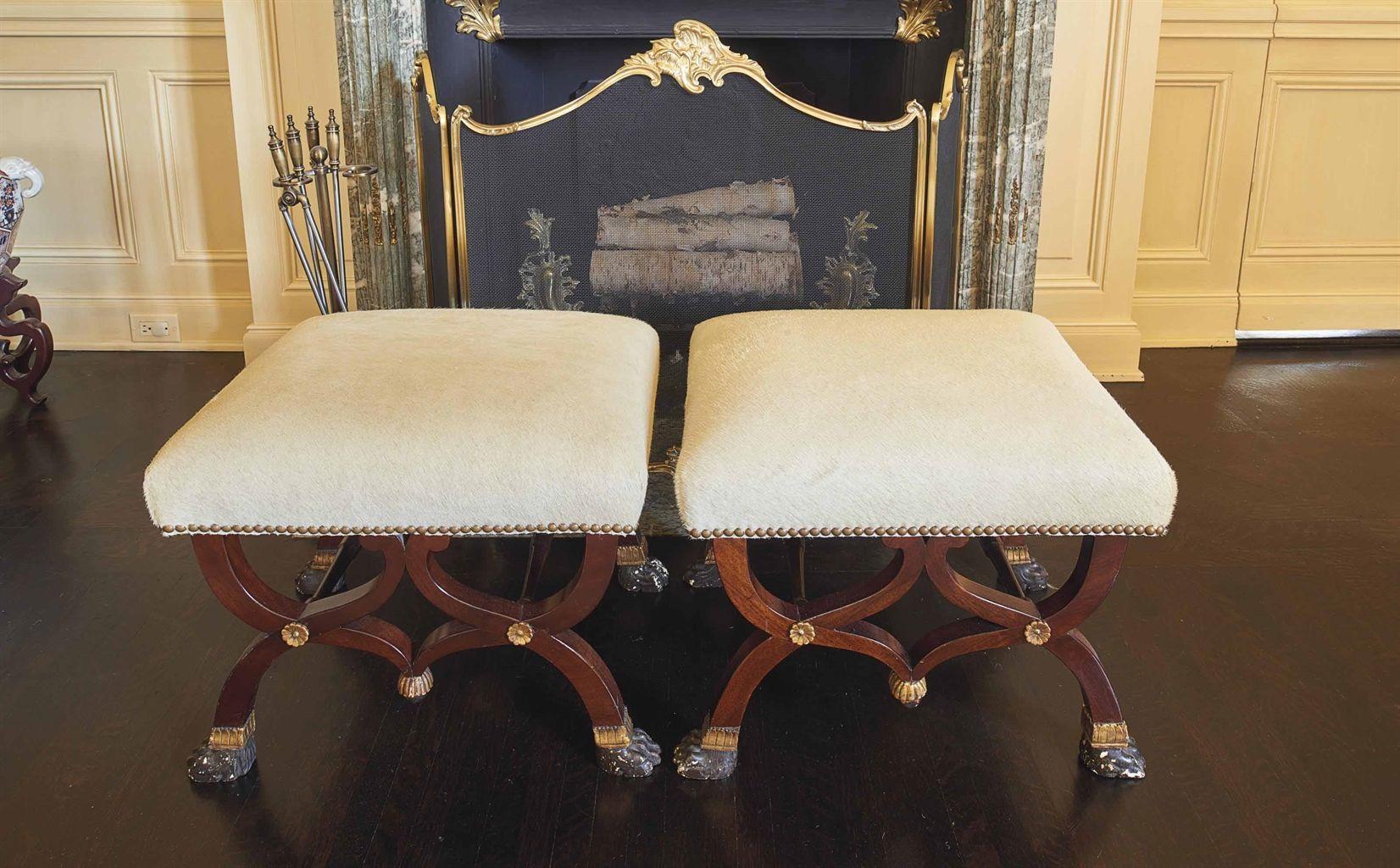 Pair of Italian mahogany stools Furniture styles