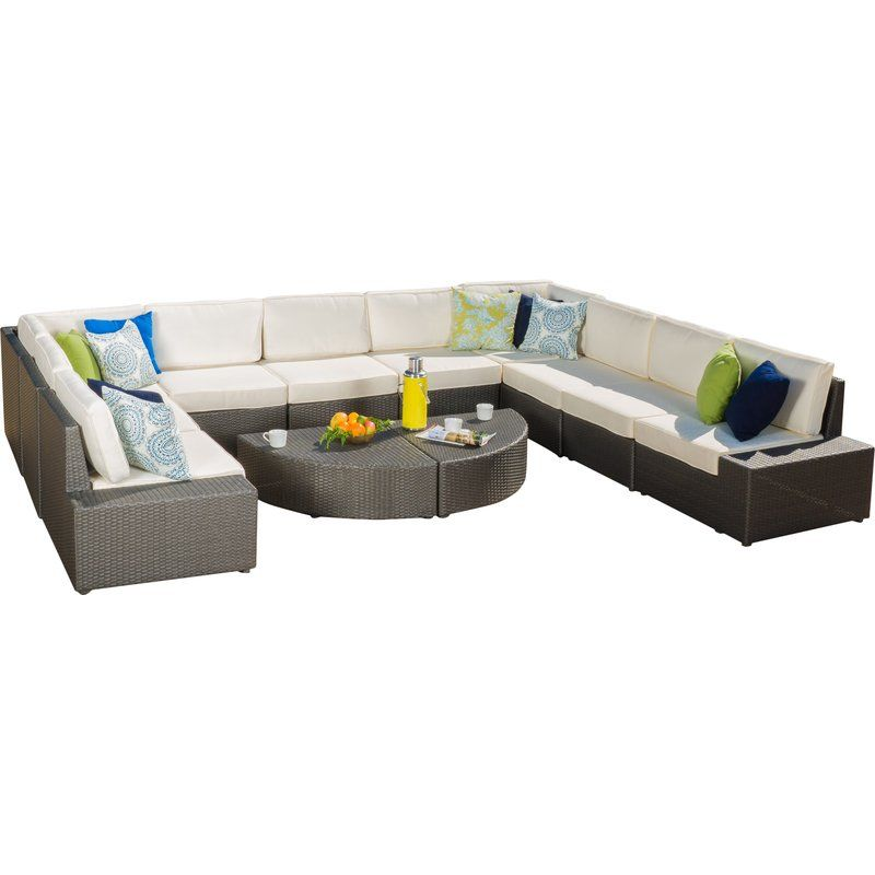 Donahoe 12 Piece Rattan Sectional Set With Cushions Reviews Allmodern Outdoor Sofa Sets Contemporary Outdoor Sofas Outdoor Sofa