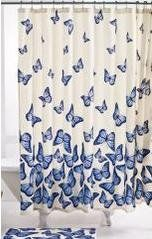 Butterfly Shower Curtain With Matching Bath Mat And Curtain Hooks   14  Piece Bath Set By