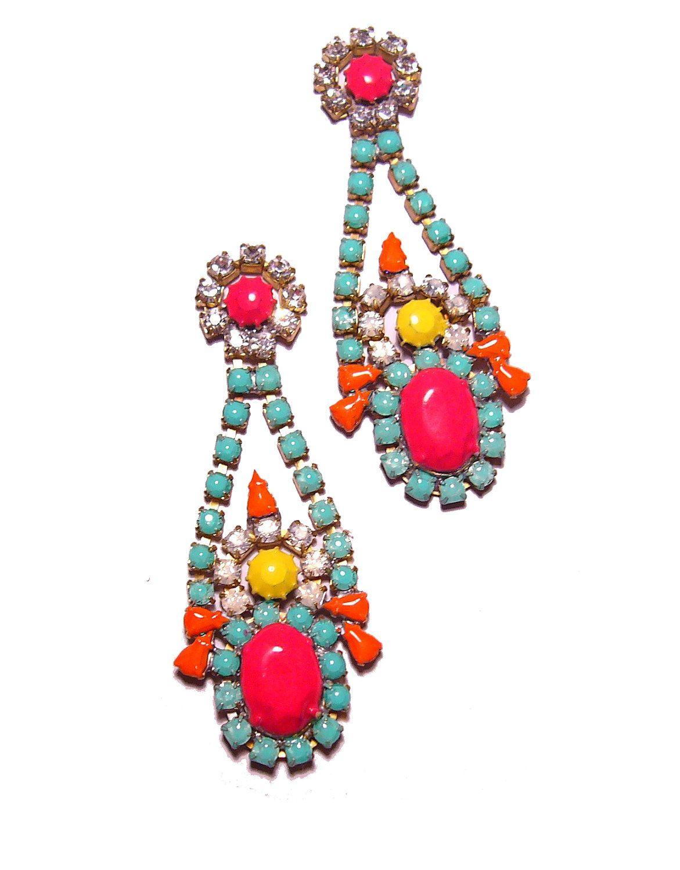 Long One of a Kind Neon Hand Painted Vintage Rhinestone Earrings - La Bohème V. $95.00, via Etsy.