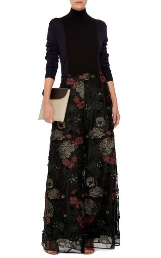Floral Filigree Embroidered Palazzo Pants by Rosetta Getty