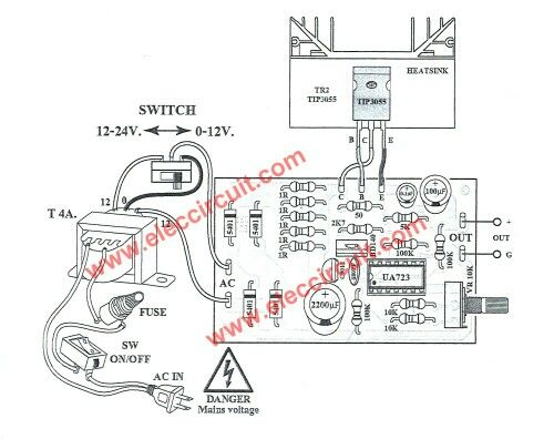 30V Variable dc power supply Wiring and components layout