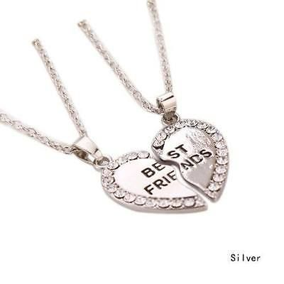 Best Friends Fashion Two Parts Silver Colored Woman Gift Heart Pendant Necklace