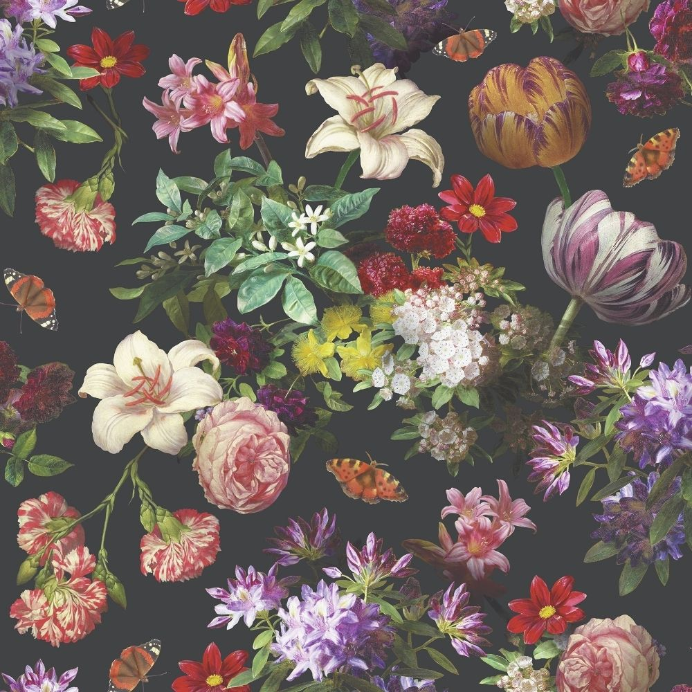 Muriva Brigitte Wallpaper Black Multi Coloured 601553