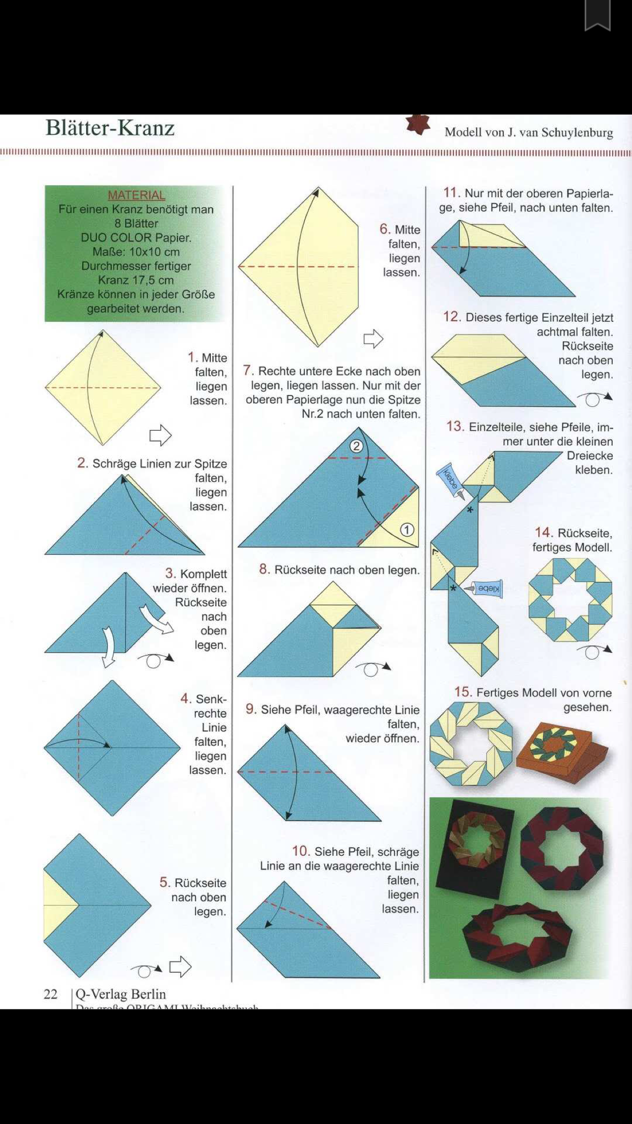 Bltter Kranz By J Van Schuylenberg Navidad Pinterest Christmas Origami Diagrams Paper Folding