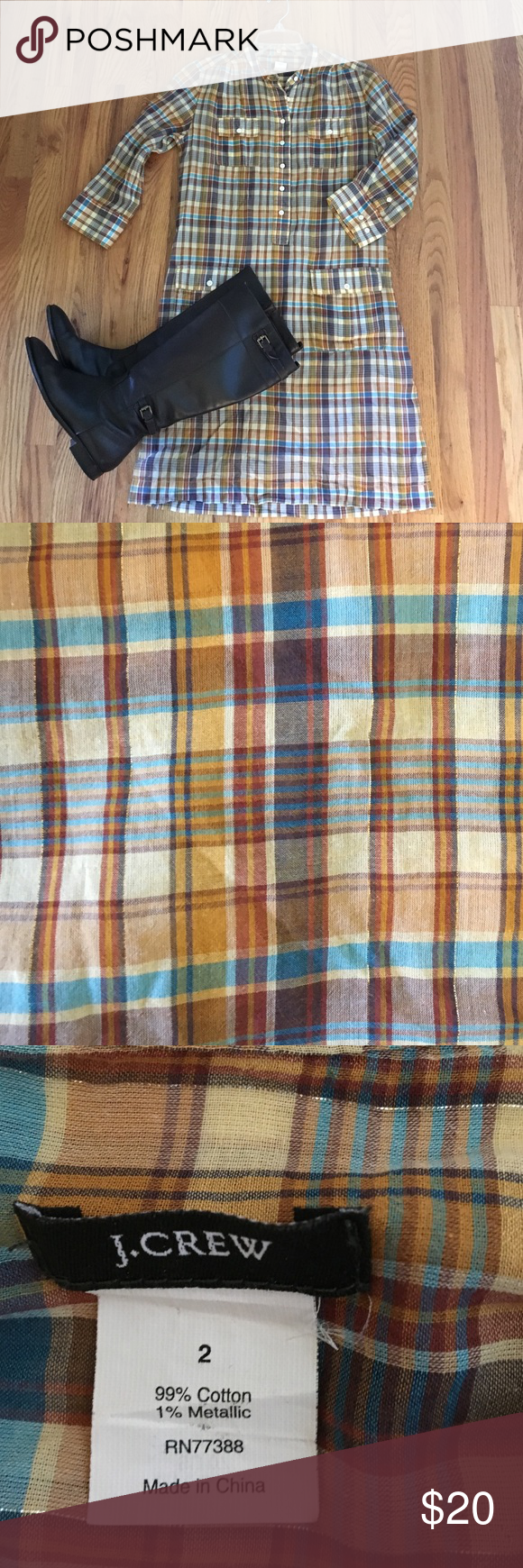 J. Crew plaid dress J. Crew plaid button-up (Henley style) dress in aqua, brown cream and yellow with a faint silver thread running throughout. Two pockets at the top and two pockets on the skirt area. Quarter sleeve length with buttons to roll up sleeves as desired. God used condition. J. Crew Dresses